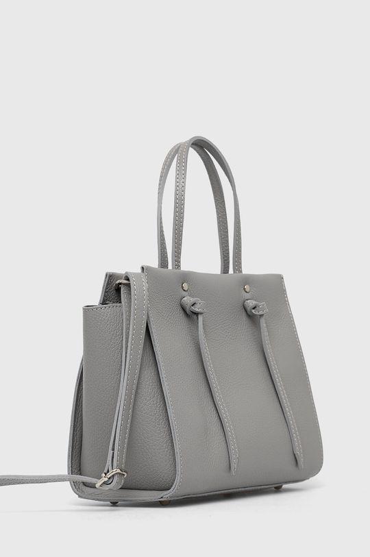 Answear Lab - Kožená kabelka šedá