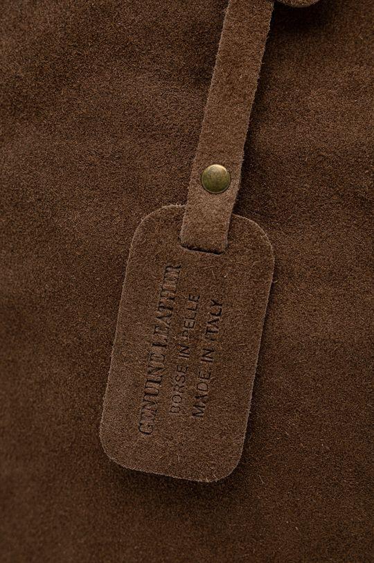 maroniu murdar Answear Lab - Geanta de mana din piele intoarsa