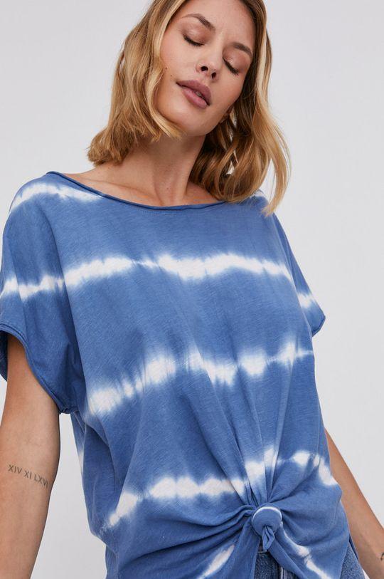 modrá Answear Lab - Bavlněné tričko Hand Crafted Dámský