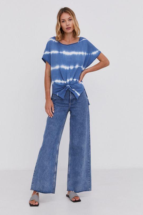 Answear Lab - Bavlněné tričko Hand Crafted modrá