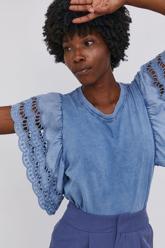 modrá Answear Lab - Bavlněné tričko Garment Dyed Dámský