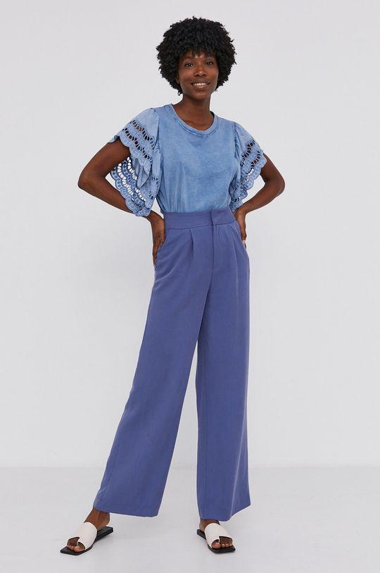 Answear Lab - Bavlněné tričko Garment Dyed modrá