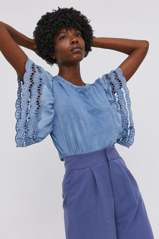 modrá Answear Lab - Bavlněné tričko Garment Dyed