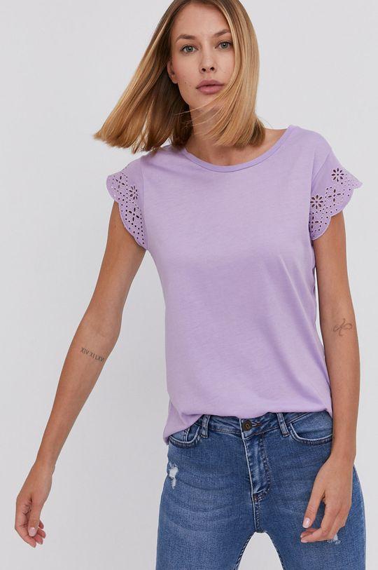 levanduľová Answear Lab - Bavlnené tričko Dámsky