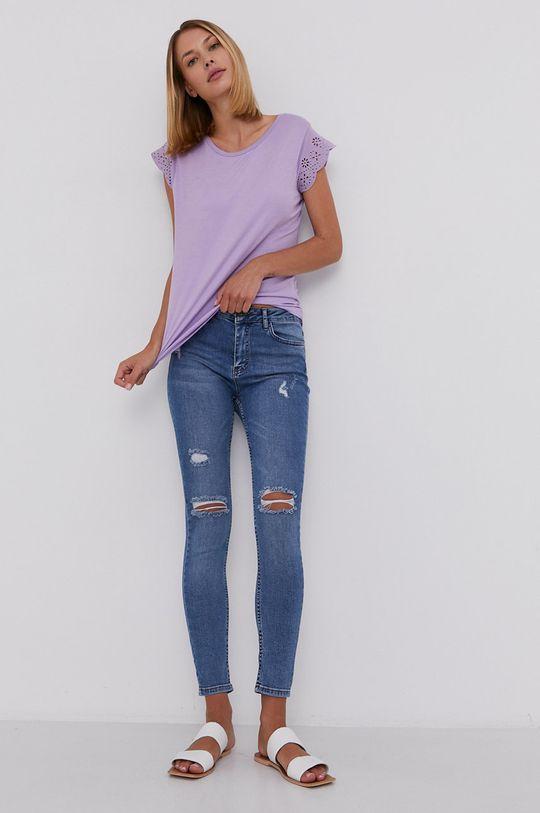 Answear Lab - Bavlnené tričko levanduľová