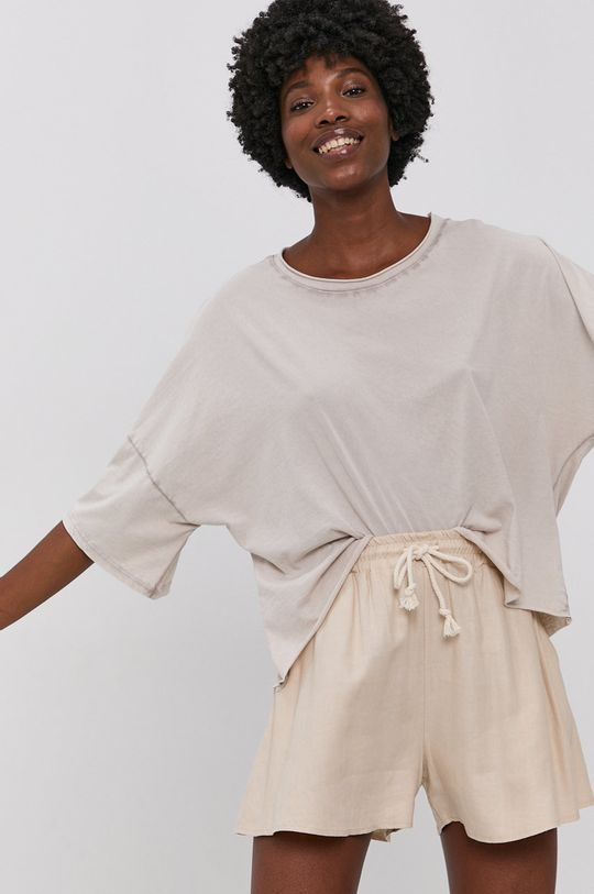 béžová Answear Lab - Bavlněné tričko Dámský