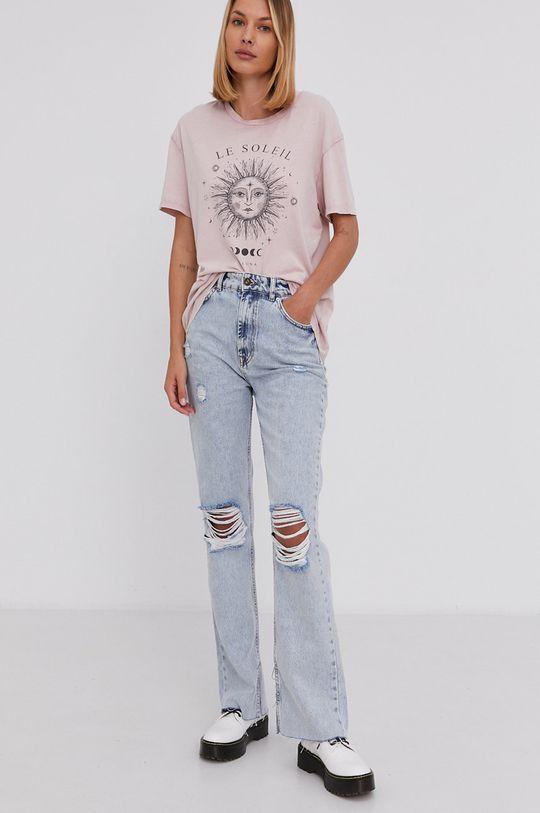 Answear Lab - T-shirt bawełniany różowy