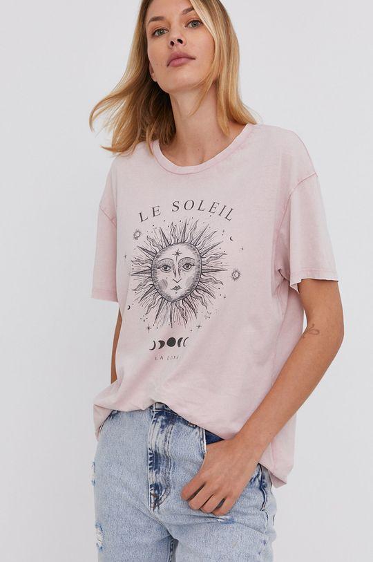 różowy Answear Lab - T-shirt bawełniany
