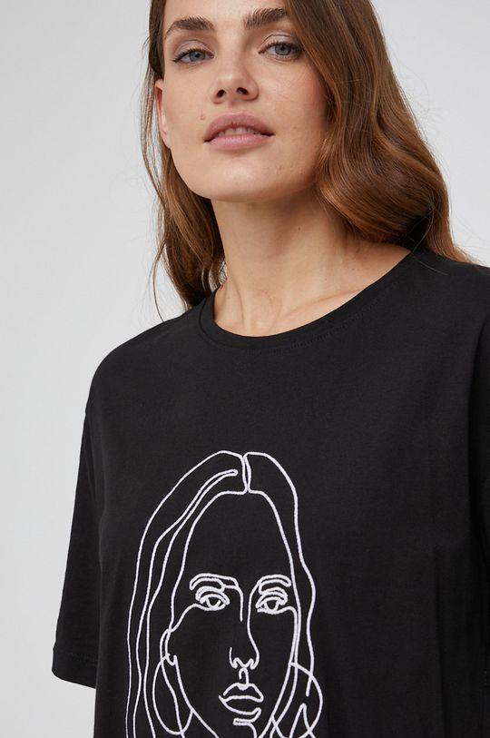 czarny Answear Lab - T-shirt bawełniany