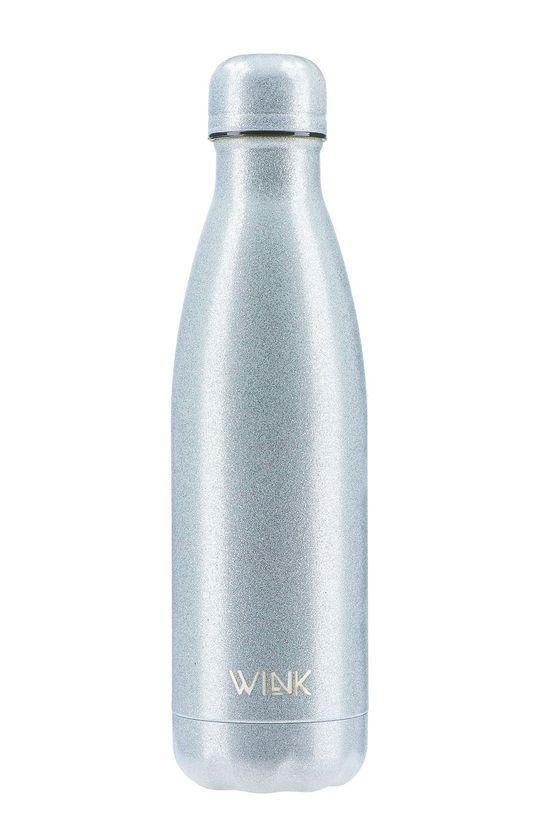srebrny Wink Bottle - Butelka termiczna GLITTER SILVER Damski