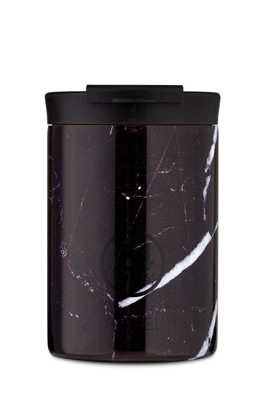 czarny 24bottles - Kubek termiczny Travel Tumbler Black Marble 350ml Unisex