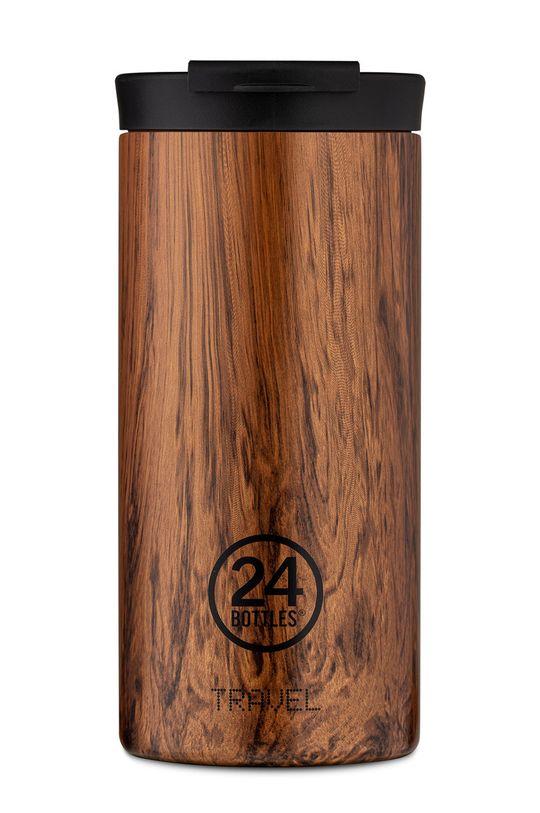 brązowy 24bottles - Kubek termiczny Travel Tumbler Sequoia Wood 600ml Unisex