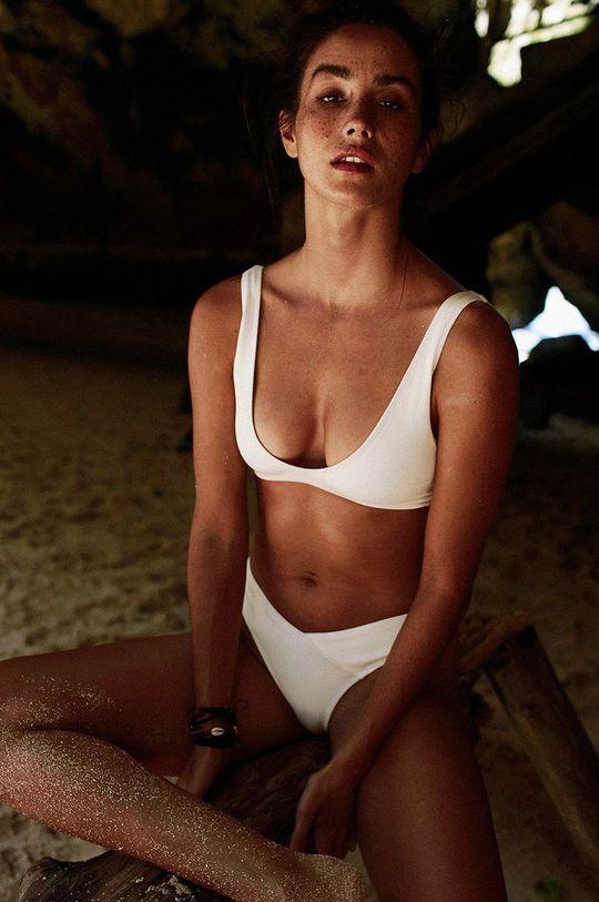 biały MUUV - Figi kąpielowe Seam Bikini Damski