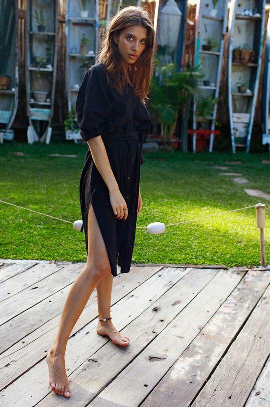 czarny MUUV - Sukienka Beach Shirt Damski