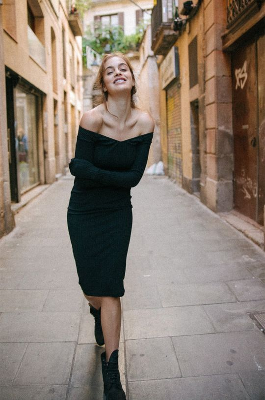 negru MUUV - Rochie Off Shoulder De femei