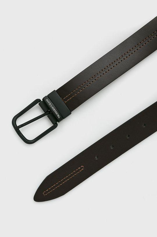 Trussardi Jeans - Pásek kožený tmavě hnědá