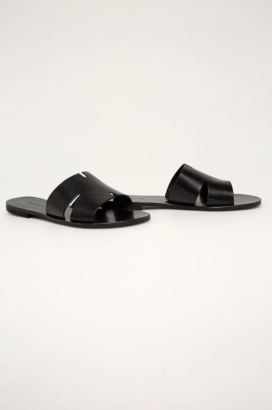 Wojas - Kožené šľapky čierna