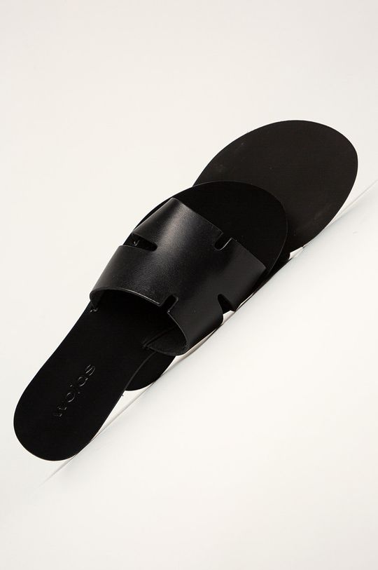 čierna Wojas - Kožené šľapky