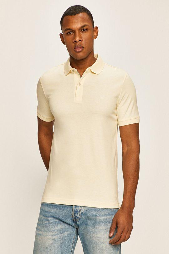 светложълт Calvin Klein - Тениска с яка Чоловічий