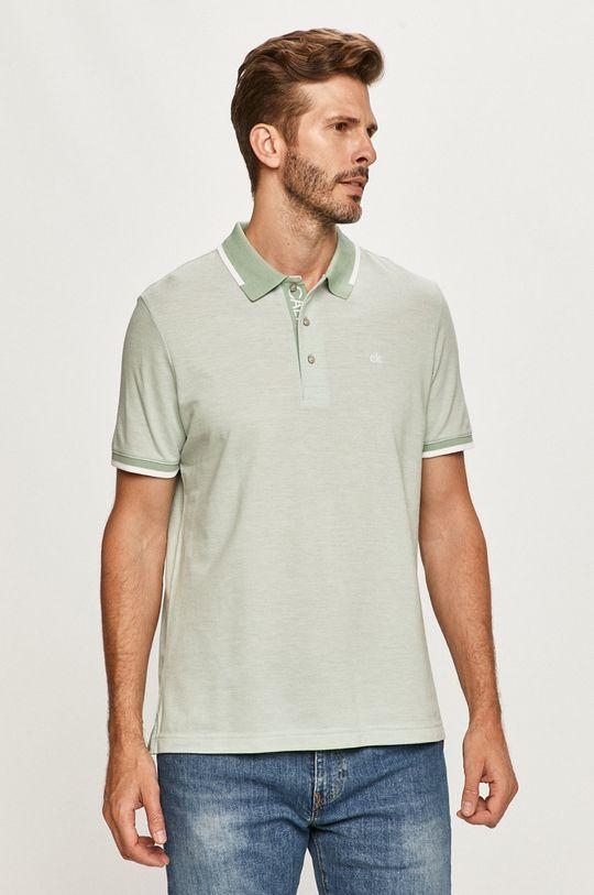 bledozelená Calvin Klein - Polo tričko Pánsky