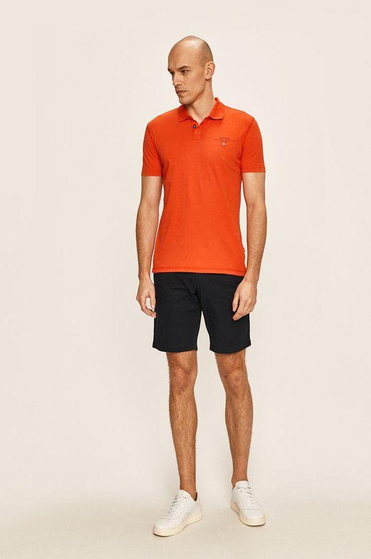 мандарина Napapijri - Тениска с яка Чоловічий