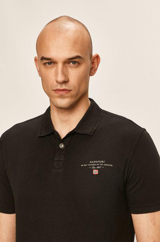 черен Napapijri - Тениска с яка Чоловічий