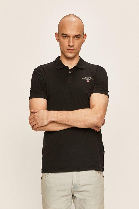 черен Napapijri - Тениска с яка