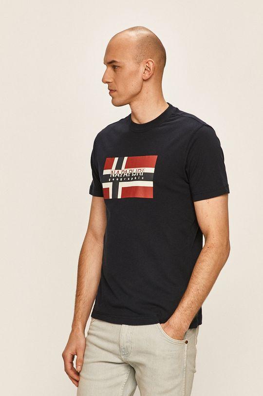 тъмносин Napapijri - Тениска Чоловічий