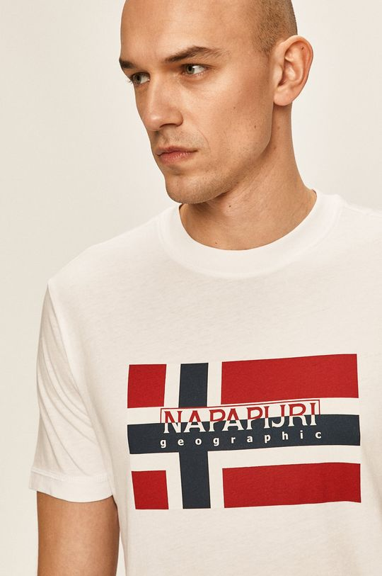 бял Napapijri - Тениска