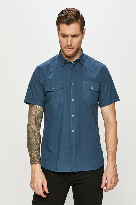 modrá Cross Jeans - Bavlnená košeľa Pánsky