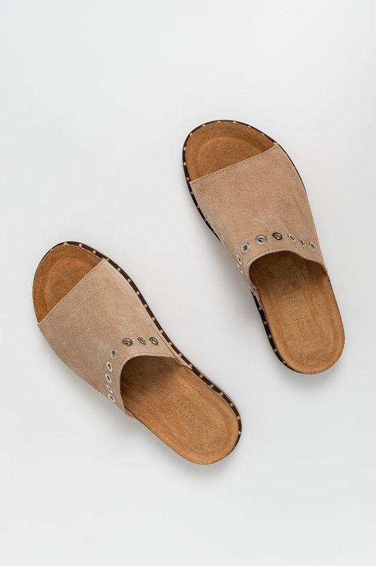 Wojas - Kožené pantofle béžová