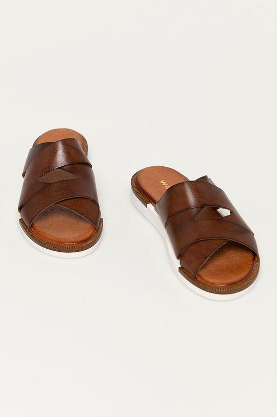 Wojas - Kožené pantofle hnědá