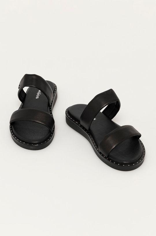 Wojas - Kožené pantofle černá