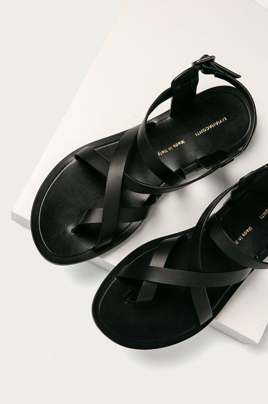 čierna Liviana Conti - Kožené sandále