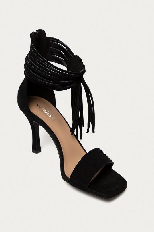 Wojas - Semišové sandály černá
