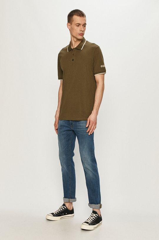 Cross Jeans - Polo tričko olivová