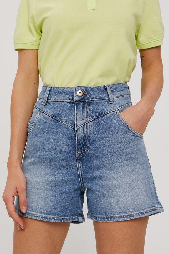 modrá Cross Jeans - Rifľové krátke nohavice Dámsky
