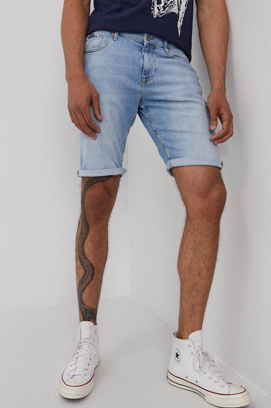 modrá Cross Jeans - Rifľové krátke nohavice Pánsky