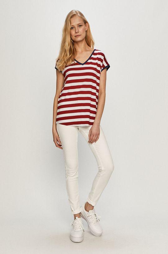 Cross Jeans - Tričko kaštanová