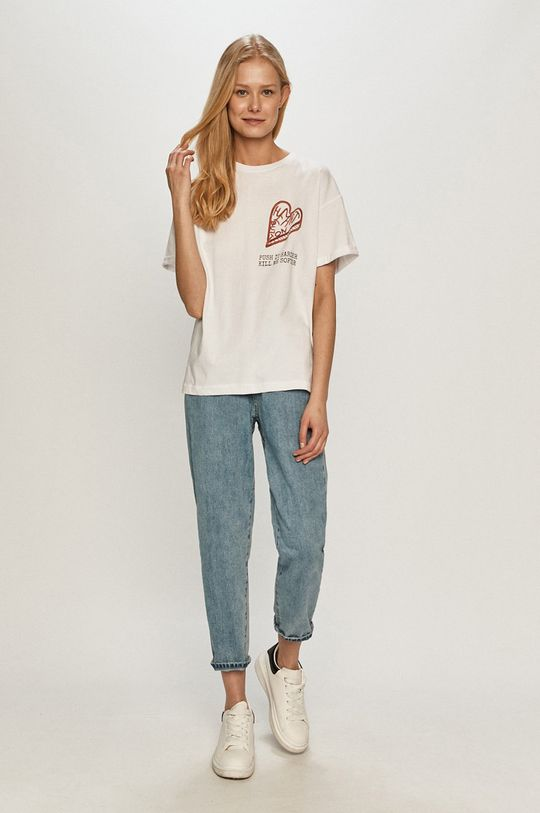 Dash My Buttons - T-shirt Heart Button biały
