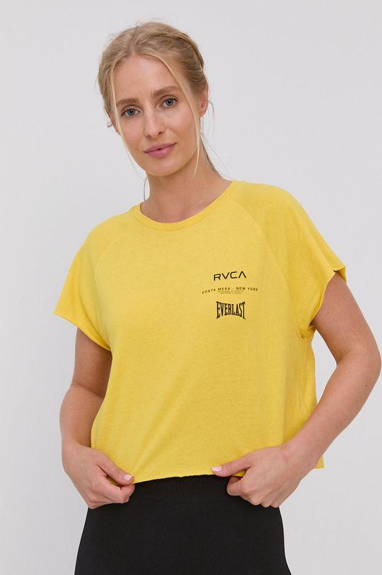 żółty RVCA - T-shirt bawełniany Damski