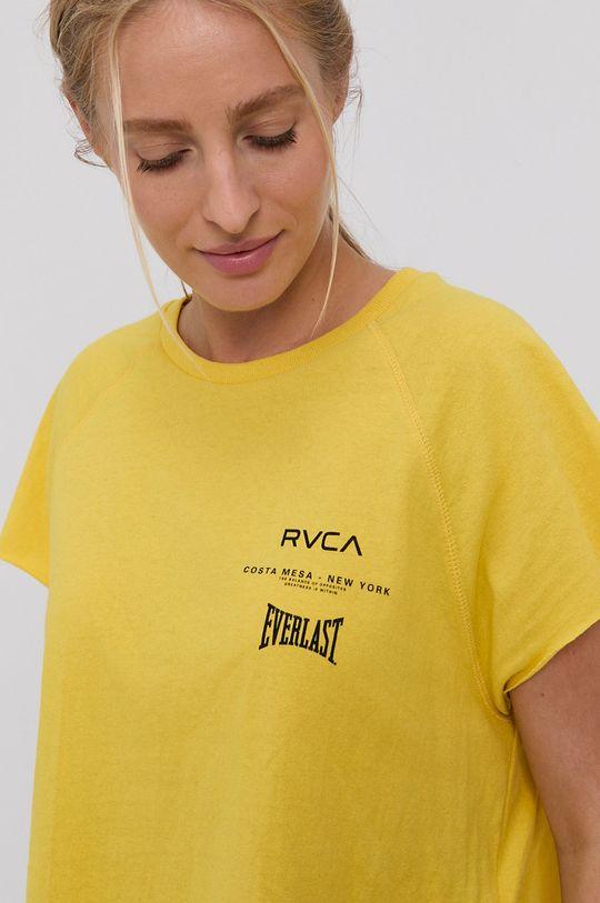 żółty RVCA - T-shirt bawełniany