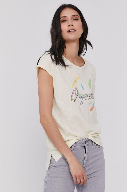 kremowy Lee Cooper - T-shirt Damski