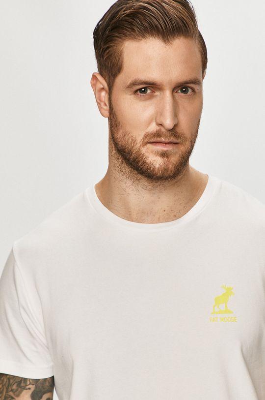 biały Fat Moose - T-shirt