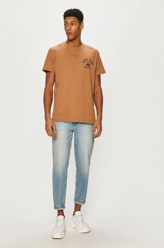 Cross Jeans - Tričko zlatohnědá