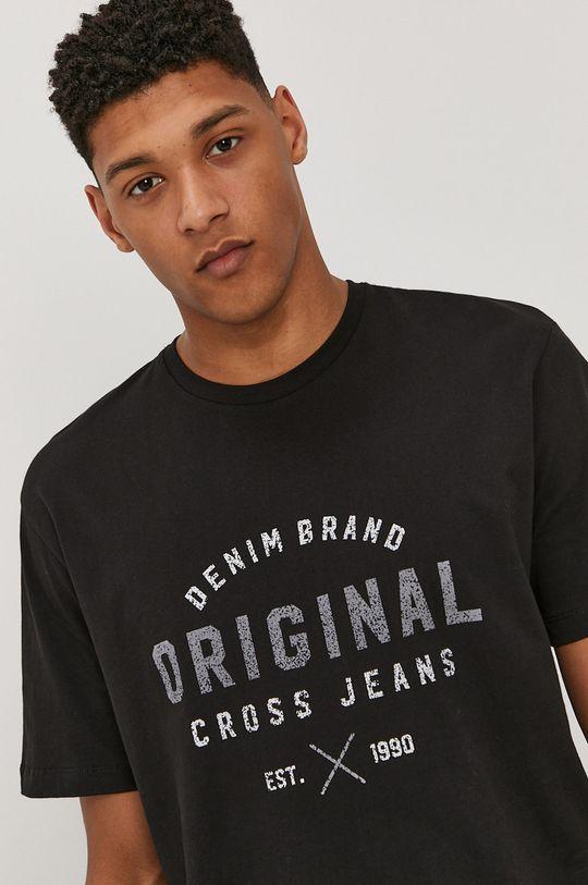 czarny Cross Jeans - T-shirt Męski