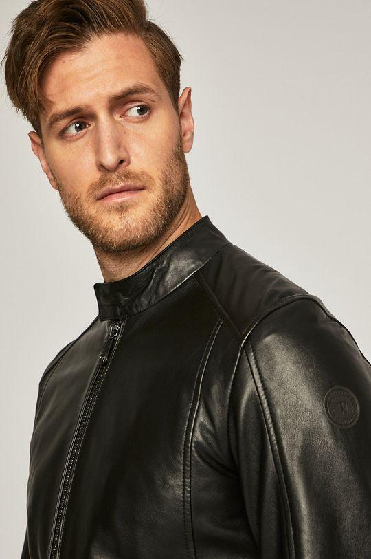 Trussardi Jeans - Kožená bunda černá