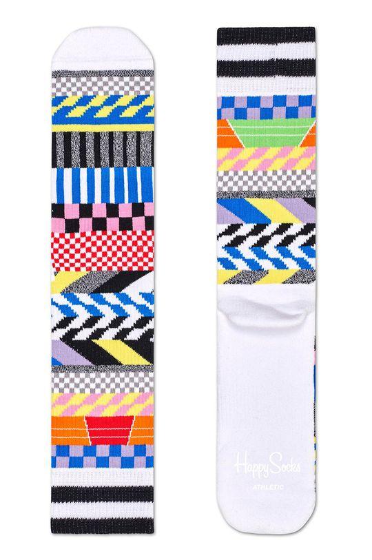 biela Happy Socks - Ponožky Athletic Sock Chekered Dámsky