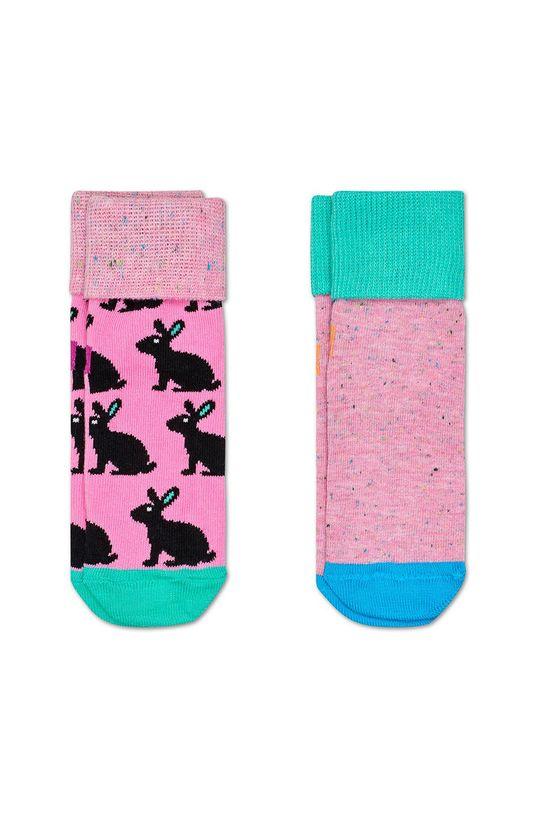 ružová Happy Socks - Detské ponožky Antislip Bunny (2-pak) Detský