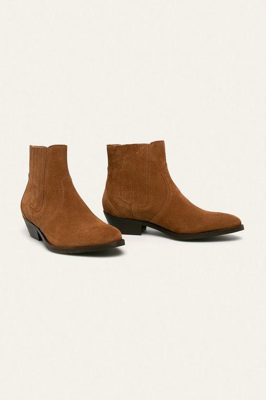 Wojas - Kožené kovbojské boty hnědá
